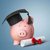 piggy bank and diploma
