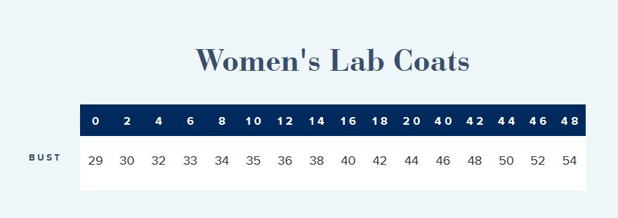 Women's Lab coat measurements