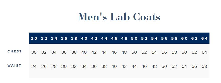 men's lab coat measurements